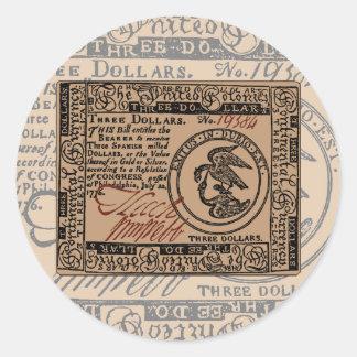 U.S. Three Dollar Bill - Sticker