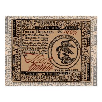U.S. Tres billete de dólar - postal