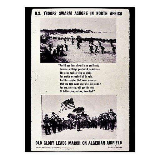 U.S. Troops Swarm Ashore In North Africa, Old Glor Postcard