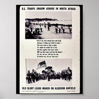 U.S. Troops Swarm Ashore In North Africa, Old Glor Posters