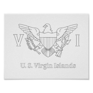 U.S. Virgin Island Flag Adult Coloring Poster