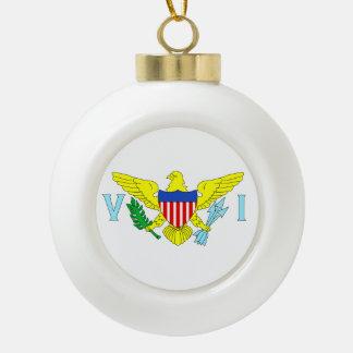 U.S. Virgin Islands Flag Ceramic Ball Christmas Ornament