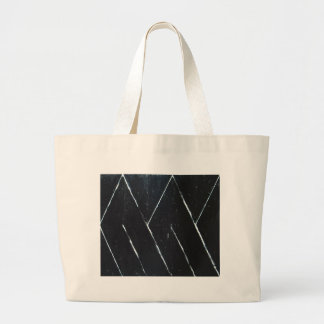 U-shaped Black Angular Curves (black minimalism) Large Tote Bag