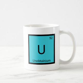 U - Símbolo de la tabla periódica de la química de Taza Básica Blanca