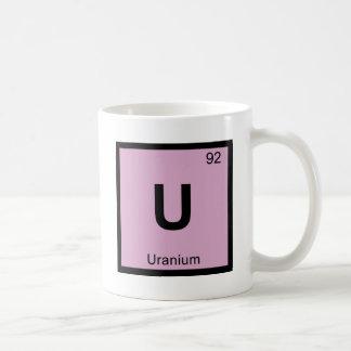 U - Símbolo de uranio de la tabla periódica de la Taza Básica Blanca