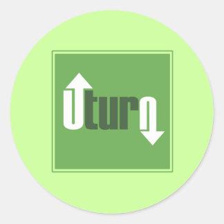 U-Turn Classic Round Sticker