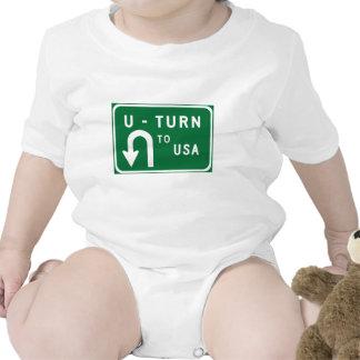 U-Turn to USA, Traffic Sign, USA Baby Creeper