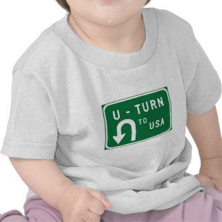 U-Turn to USA, Traffic Sign, USA Tee Shirt