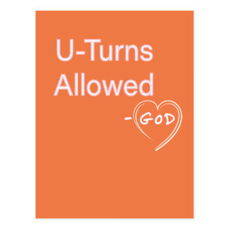 U-turns Allowed God Humor postcards Christian