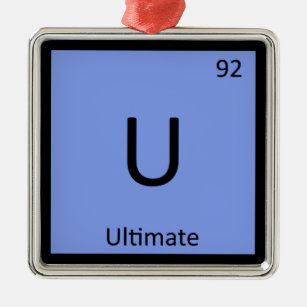 5ea6ee199ac7e U - Ultimate Frisbee Sports Chemistry Symbol Metal Ornament