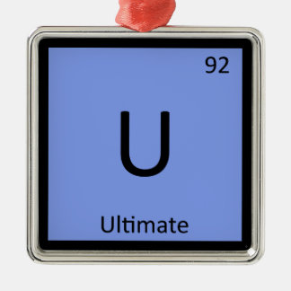 U - Ultimate Frisbee Sports Chemistry Symbol Square Metal Christmas Ornament