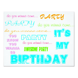 U wanna come to my party 4.25x5.5 paper invitation card