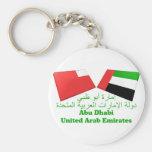 UAE & Abu Dhabi Flag Tiles Basic Round Button Keychain