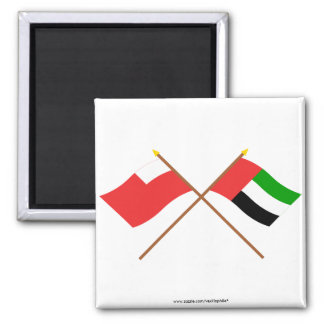 UAE and Abu Dhabi Crossed Flags 2 Inch Square Magnet