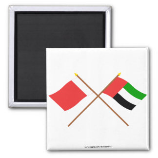 UAE and Ajman Crossed Flags 2 Inch Square Magnet