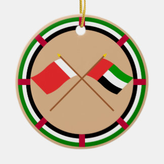 UAE and Dubai Crossed Flags Double-Sided Ceramic Round Christmas Ornament