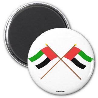 UAE and Fujairah Crossed Flags Refrigerator Magnet