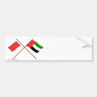 UAE and Ras al-Khaimah Crossed Flags Bumper Stickers