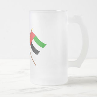 UAE and Umm al-Quwain Crossed Flags Frosted Glass Beer Mug