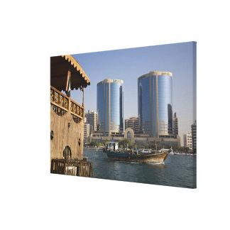UAE, Dubai, Dubai Creek. Dhow cruises channel Stretched Canvas Print