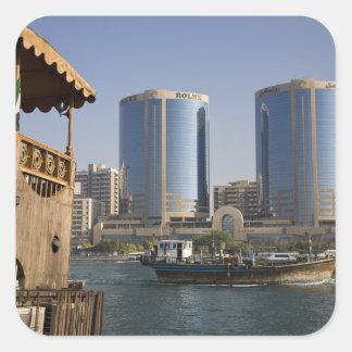 UAE, Dubai, Dubai Creek. Dhow cruises channel Square Sticker