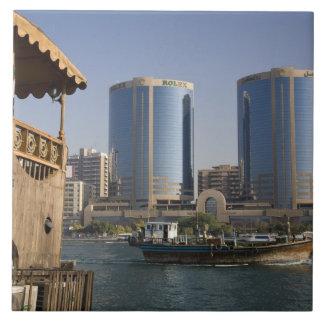 UAE, Dubai, Dubai Creek. Dhow cruises channel Ceramic Tile
