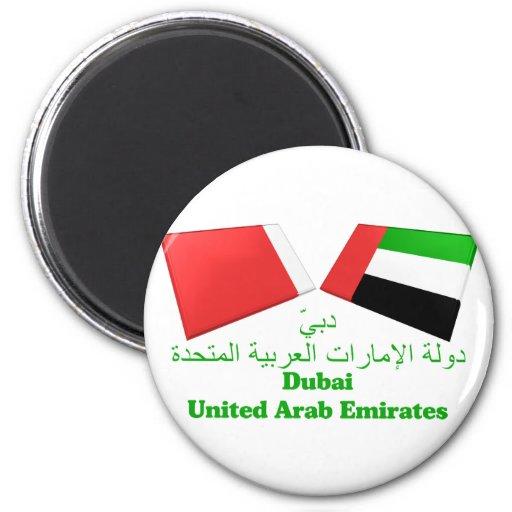 UAE & Dubai Flag Tiles Refrigerator Magnets