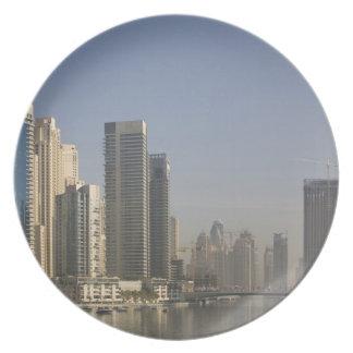 UAE, Dubai. Marina towers with boats at anchor. Melamine Plate