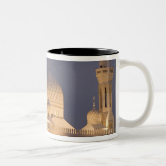 UAE, Dubai. Mezquita por la tarde con el árabe del Taza De Café De Dos Colores