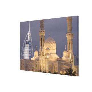 UAE, Dubai. Mosque in evening with Burj al Arab Gallery Wrapped Canvas