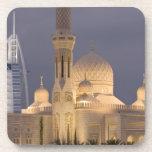UAE, Dubai. Mosque in evening with Burj al Arab Drink Coaster