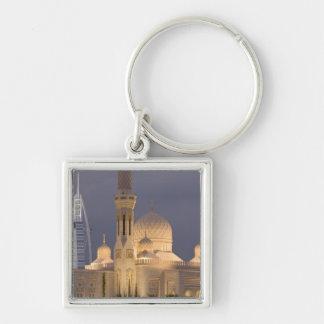 UAE, Dubai. Mosque in evening with Burj al Arab Key Chains