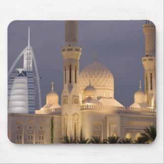 UAE, Dubai. Mosque in evening with Burj al Arab Mouse Pad