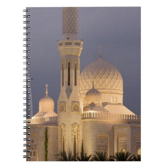 UAE, Dubai. Mosque in evening with Burj al Arab Notebook