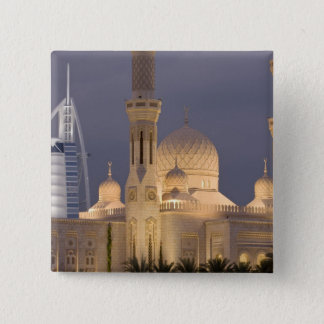 UAE, Dubai. Mosque in evening with Burj al Arab Pinback Button