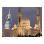 UAE, Dubai. Mosque in evening with Burj al Arab Postcard