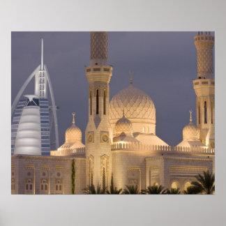 UAE, Dubai. Mosque in evening with Burj al Arab Poster