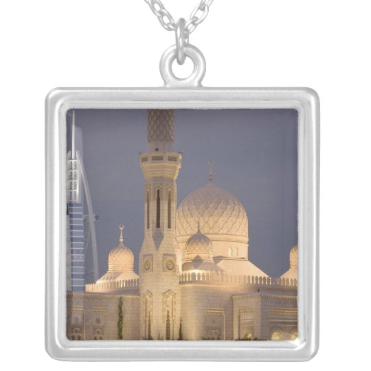 UAE, Dubai. Mosque in evening with Burj al Arab Silver Plated Necklace