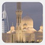 UAE, Dubai. Mosque in evening with Burj al Arab Square Sticker