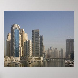 UAE Dubai Torres del puerto deportivo con los ba Posters