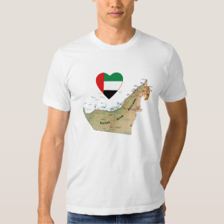 UAE Flag Heart and Map T-Shirt