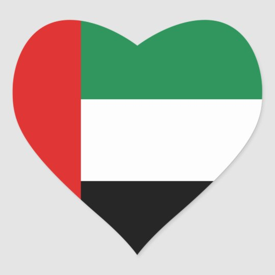 Uae flag heart sticker