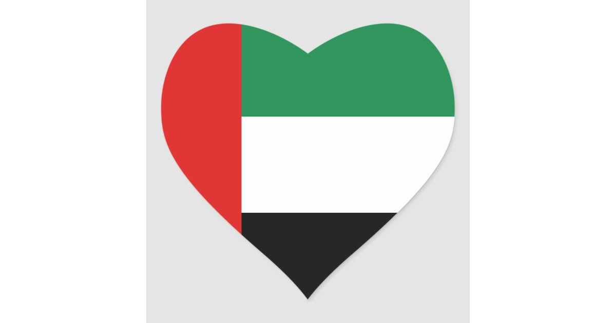 Uae flag heart sticker zazzle com