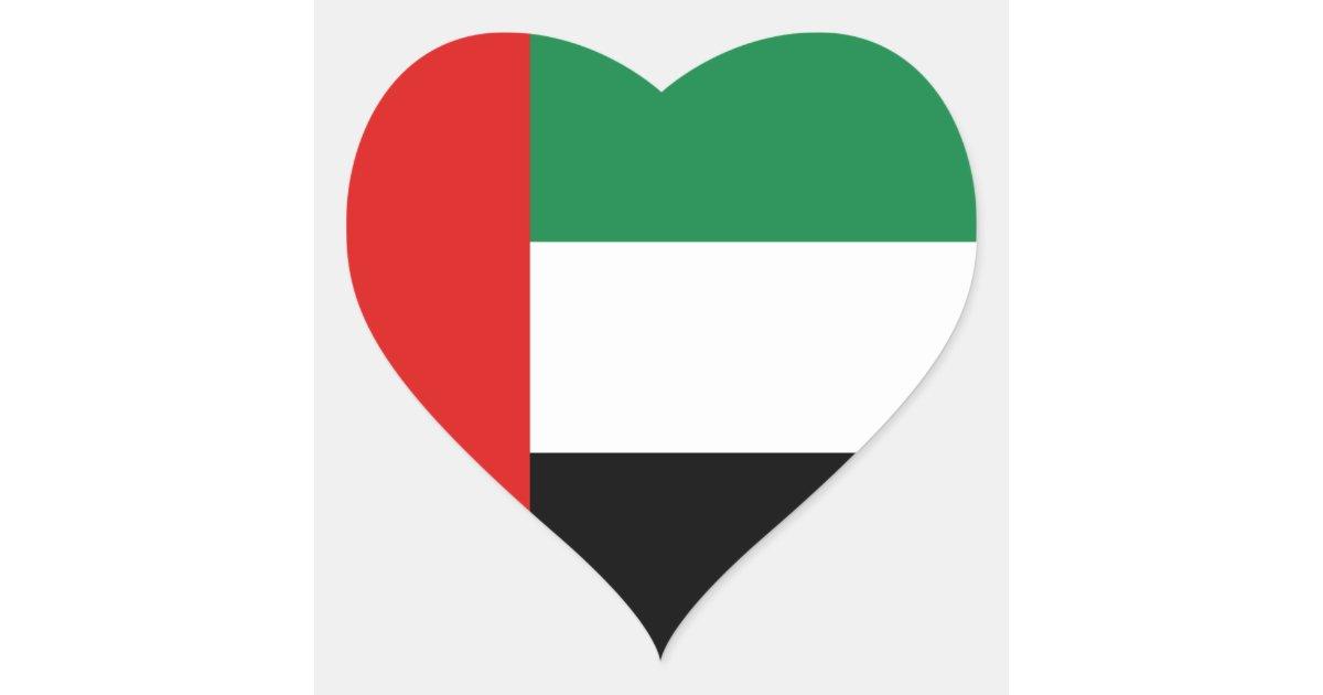 UAE Flag Heart Sticker