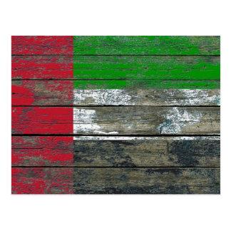 UAE Flag on Rough Wood Boards Effect Postcard