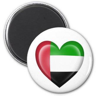 UAE Heart Flag on White Magnets