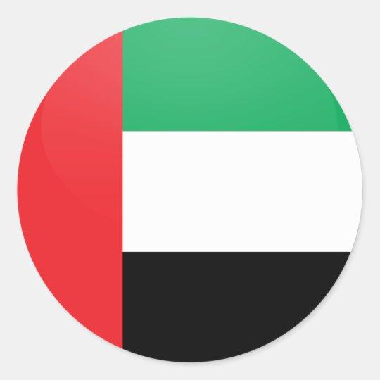 Uae quality Flag Circle Classic Round Sticker