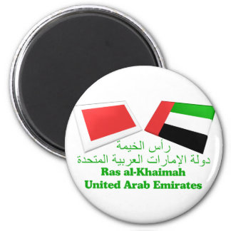 UAE & Ras al-Khaimah Flag Tiles 2 Inch Round Magnet