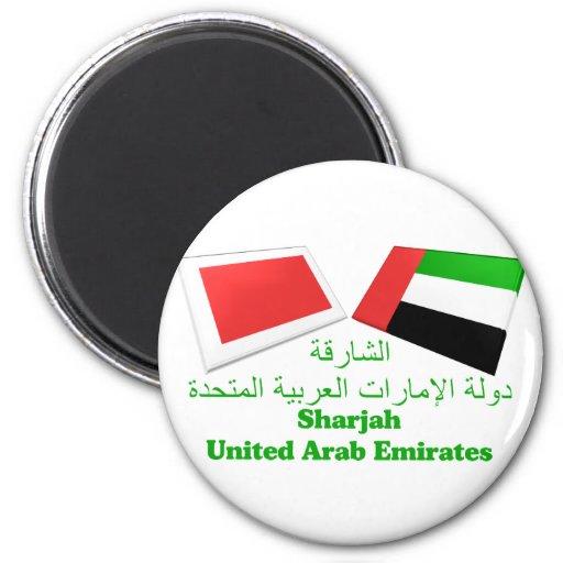 UAE & Sharjah Flag Tiles Refrigerator Magnet