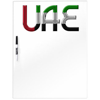 UAE United Arab Emirates Flag Colors Typography Dry Erase Board